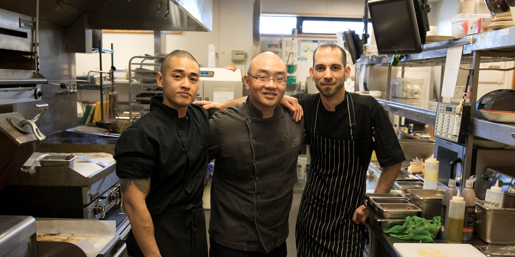 Danzen, Jason, and Joe at the Riverway restaurant kitchen