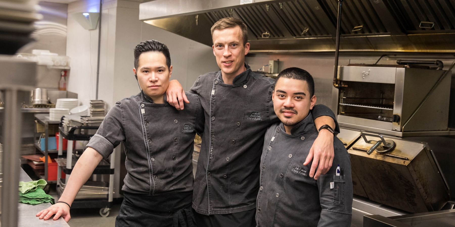 Chefs Joseph, Phil and Jan at the Burnaby Mountain Clubhouse restaurant kitchen