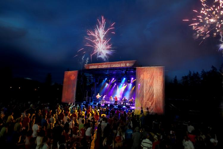 Fireworks over the Canada Day Concert at Swangard stadium