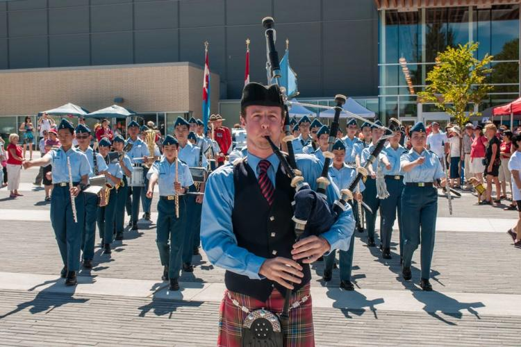 Bagpiper parade at the Canada Day Celebrations at Edmonds Plaza