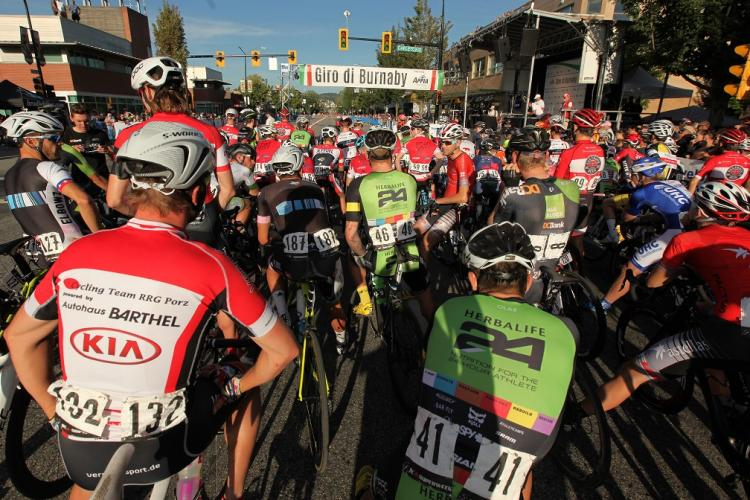 Bicyclists ready to go at the starting line