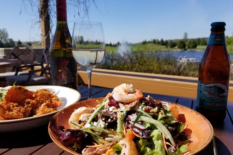 Prawn salad on Riverway patio